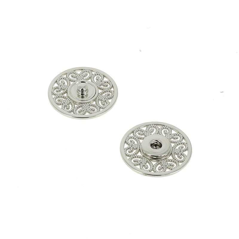 Bottoni Automatici in metallo Mod.53823 Nikel Eco Free lin.36 e 44